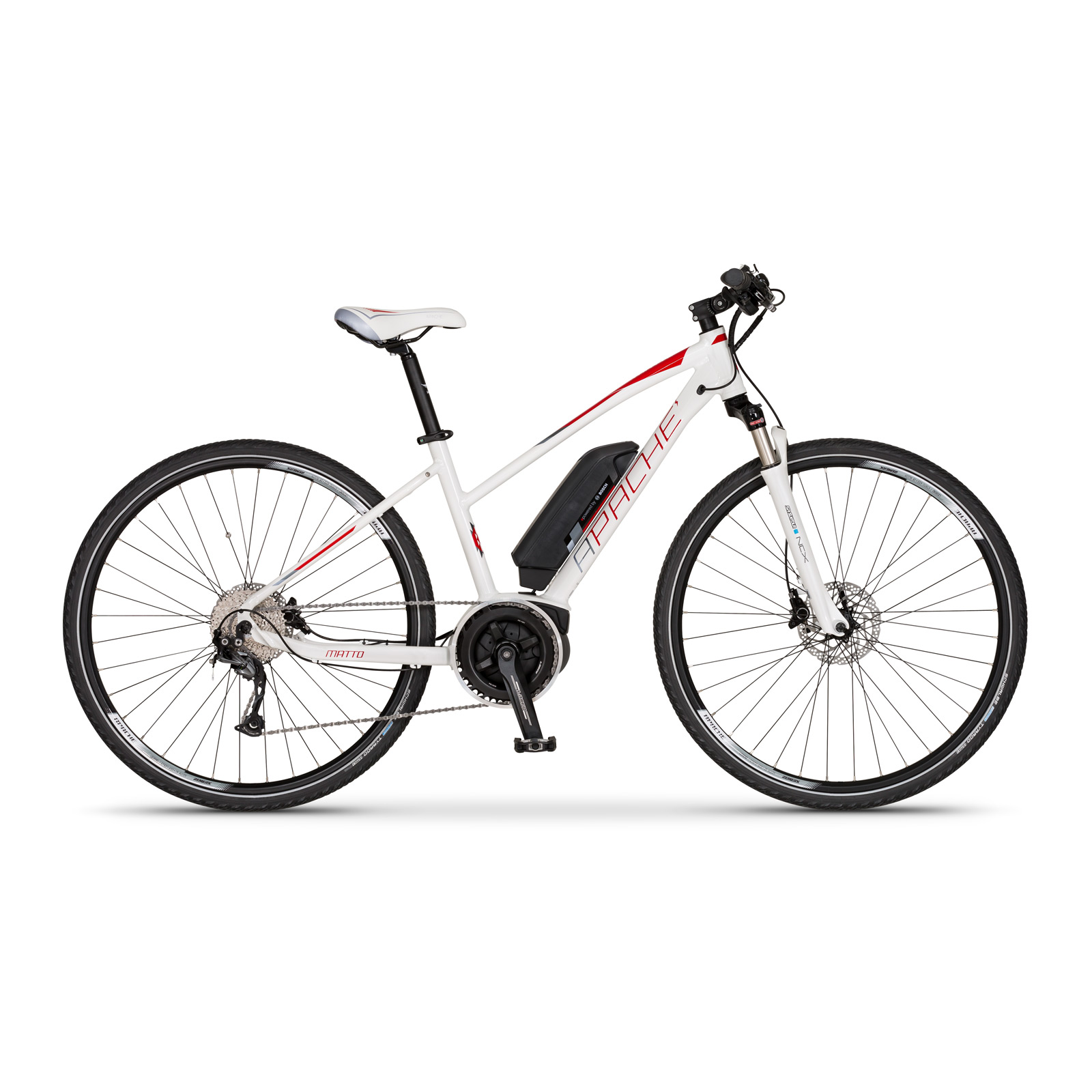 Elektrokolo cross Apache Matto lady Bosch Active Plus 400 Wh bílá 2018